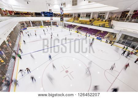 Singapore 05 May 2012: Singapore's first Olympic-size skate rink in Jcube shopping centre
