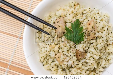 Oriental Fried Rice In White Bowl