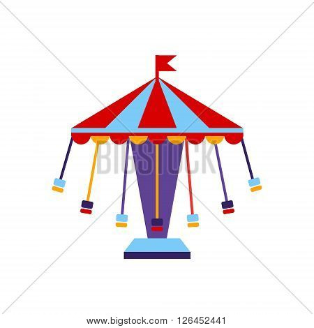 Carousel With Sits On Chains Primitive Colorful Style Flat Isolated Vector Icon On White Background