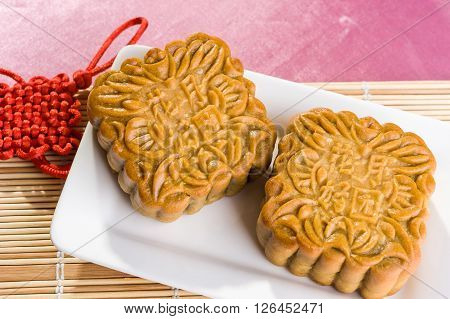Chinese Mooncakes With Text Meaning Good Luck And Prosperity