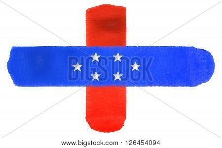 watercolor illustration of the Netherlands Antilles flag