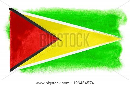 a watercolor illustration of the Guyana flag