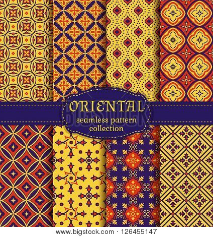 Eastern seamless patterns. Retro set in red dark purple and yellow colors. Colorful collection of stylized oriental ornaments. Trendy abstract backgrounds. Vector illustration.