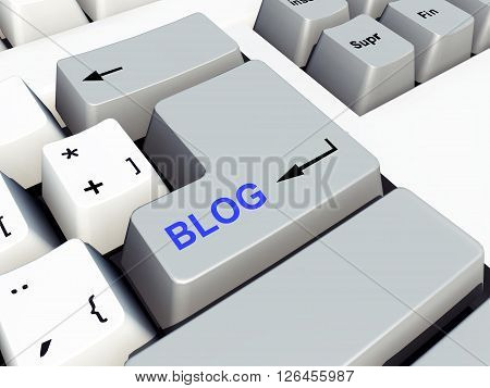 Computer generated 3D illustration with a Blog key on a computer keyboard
