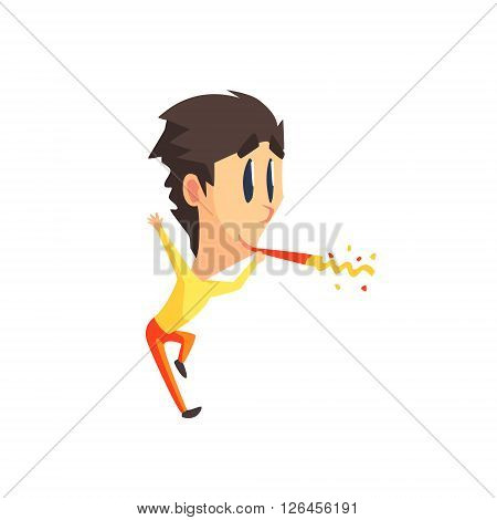 Black Hair Male Character With Firecracker Primitive Geometric Design Flat Isolated Vector Image