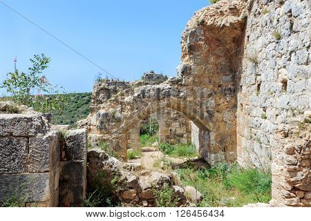 Montfort Castle ruins in northern Israel. Arched passageways through the halls.