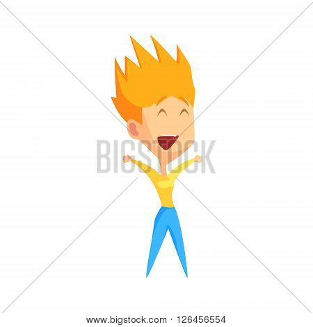 Spiky Redhead Female Character Rejoicing Primitive Geometric Design Flat Isolated Vector Image