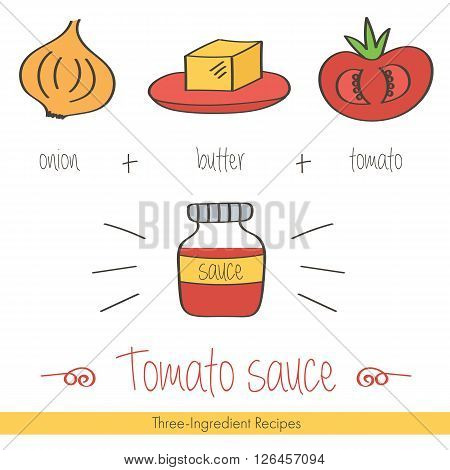 Colorful doodle, hand drawn recipe of tomato sauce with ingredients. Three-ingredient recipes doodle illustration.