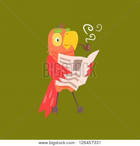 Parrot Reading Newspaper Funny Flat Vector Illustration In Creative Applique Style