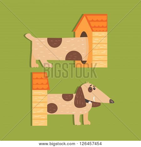 Dachshund Separated Halves Funny Flat Vector Illustration In Creative Applique Style