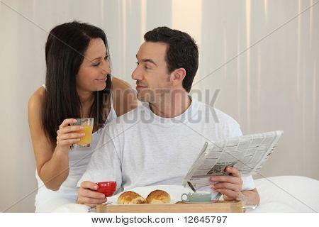 Portrait of a couple having breakfast