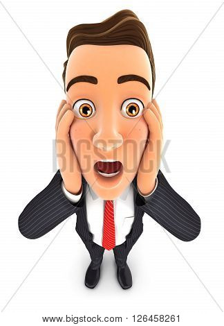 3d businessman with shocked facial expression isolated white background