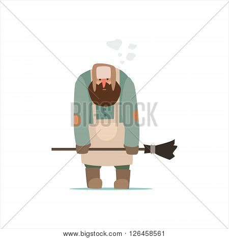Street Cleaner Outside In Winter Primitive Vector Flat Isolated Illustration On White Background