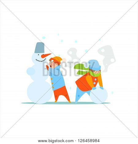 Kids Making A Snowman Primitive Vector Flat Isolated Illustration On White Background