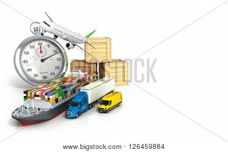 3d render of different transport on the background of the stopwatch concept diverse deliveries of fast deliveries