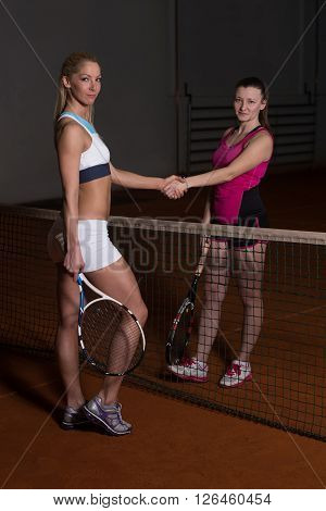 Two Tennis Players Shaking Hands Over The Net