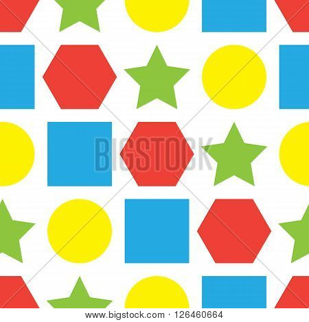 Bright colorful seamless background with geometric forms. Vector illustration