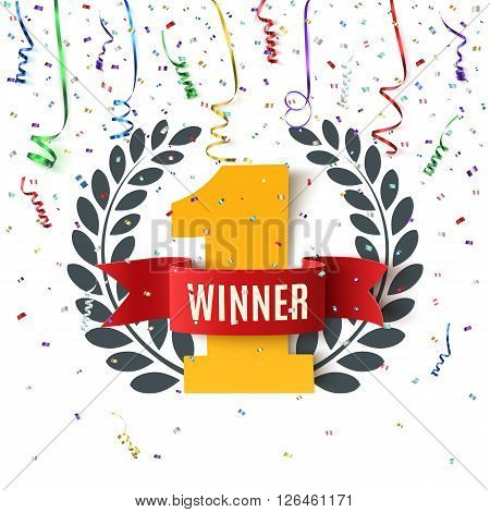 Winner, number one background with red ribbon, olive branch and confetti on white. Winner ribbon. Winner concept. Vector illustration.