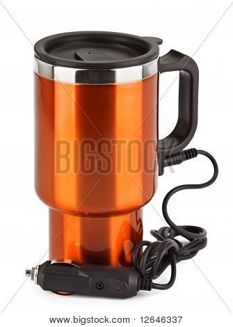 Orange Electric Thermos Mug For Auto 12 Volt Lighter