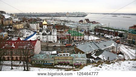 Nizhny Novgorod Russia - November 24 2015: View of center Nizhny Novgorod from Kremlin.
