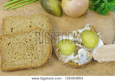 raw bacon and lard on stone background