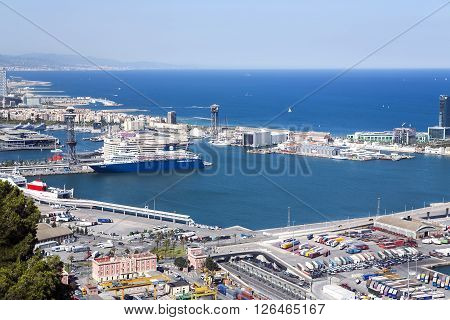SPAIN, BARCELONA, JUNE, 27, 2015 - A view aerial  from the hill of Montjuic on the port Vell in Barcelona, Catalonia, Spain.