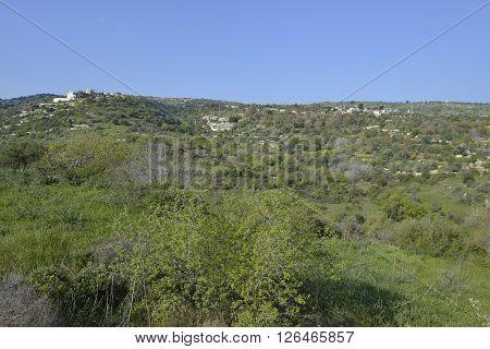 Chrysochou Valley & Kritou Tera Village on hillside Cyprus