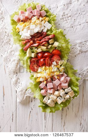 American Cobb Salad On A Plate On The Table. Vertical Top View