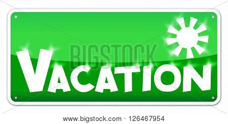 Green card Vacation isolated over white background