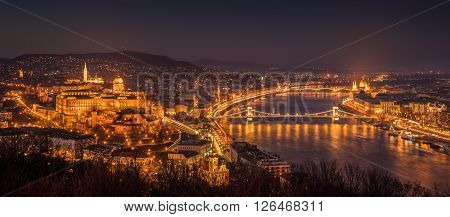 Panoramic View of Budapest with Street Lights and the Danube River at Twilight as Seen from Gellert Hill Lookout Point