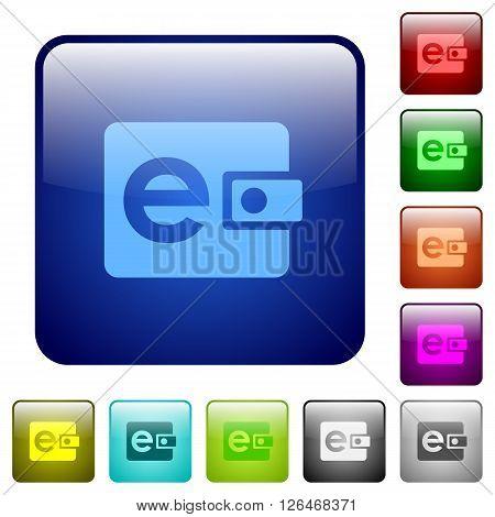 Set of color e-wallet glass web buttons.