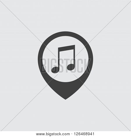 music pin icon, isolated on white background illustration