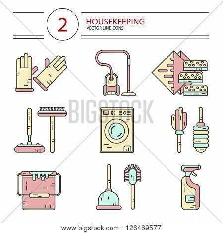 Vector modern line style color icons set of household cleaning. Vacuum cleaner, washing machine, gloves, brush, wiper, sponges, plunger, brush, bucket, broom. Housekeeping equipment, accessories.