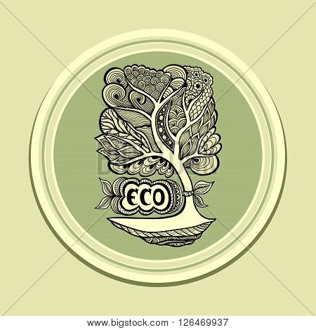Badge or icon  with Zen-tangle or Zen-doodle in tree green olive in circle or template emblem or symbol  ecology  or creative concept ecological researches  or scientific eco conference