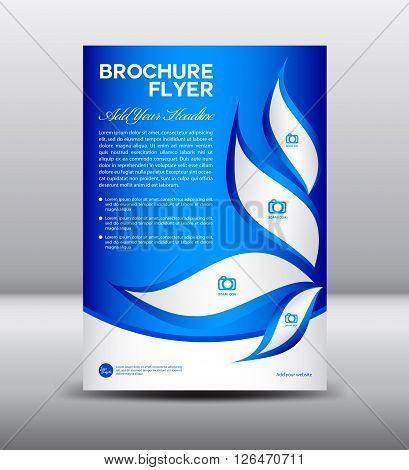 Blue Brochure flyer template newsletter  template design for business
