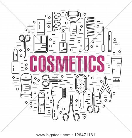 Vector modern line style illustration of beauty, makeup and cosmetics products. Perfume bottle, shampoo, lipstick, lip gloss, nail polish, brushes, deodorant, brush. Round shape icons set.