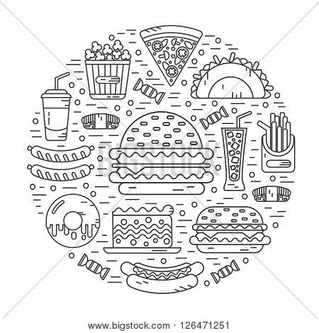 Vector modern line style icons concept of fast food, junk food. Tacos, popcorn, cheeseburger, hamburger, soda, sausage, french fries, sushi, donut, pizza, cake. Round shape illustration.