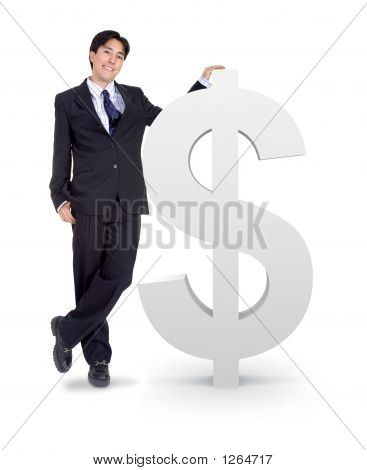 Business Man Next To A Money Sign