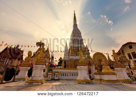 Wat Mahathat Temple during sunset at Nakhon Phanom Province Thailand