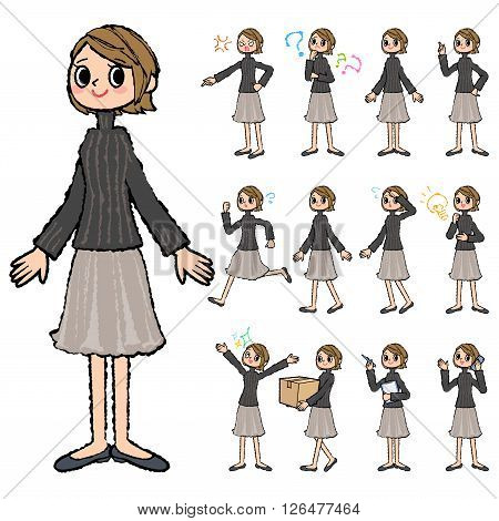 Set of various poses of Short hair black high necked women in hand painted