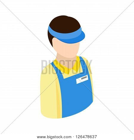 Cashier in supermarket icon in isometric 3d style on a white background