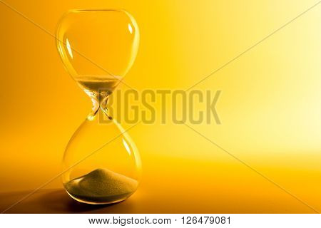 Hourglass on yellow background