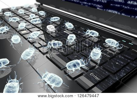 Digital Safety Concept Electronic Bug On Computer Keyboard