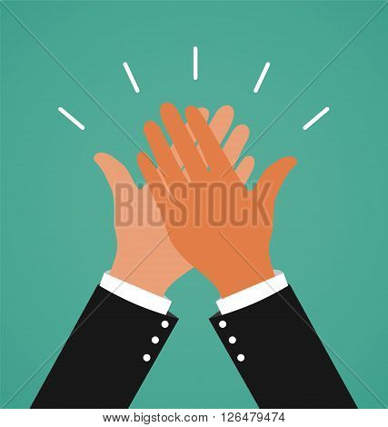 Two Business Hands Giving A High Five For Success Job Congratulating and Celebration Concept