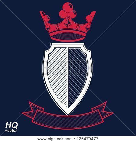Empire Design Element. Heraldic Royal Coronet Illustration - Imperial Striped Decorative Coat Of Arm