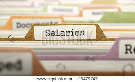 Salaries - Folder Register Name in Directory. Colored, Blurred Image. Closeup View. 3D Render.