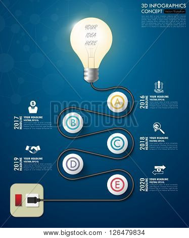 3D Light Bulb Timeline Infographics With Icons Set. Vector. Illustration.