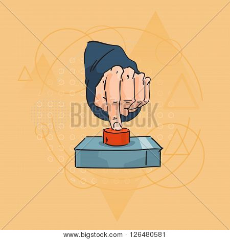 Business Man Hand Finger Press Red Button Over Triangle Geometric Background Flat Vector Illustration