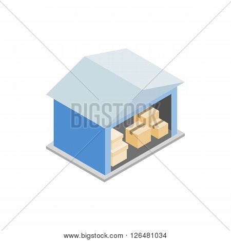 Warehouse with open door icon in isometric 3d style on a white background