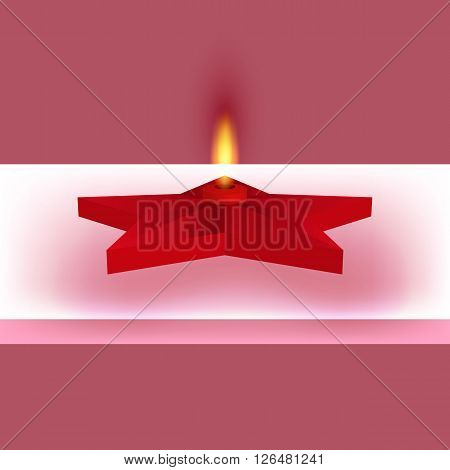 Vector illustration of a red star with fire. Eternal flame.